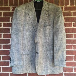 100% silk Stafford 48R Men Black Gray Blazer coat